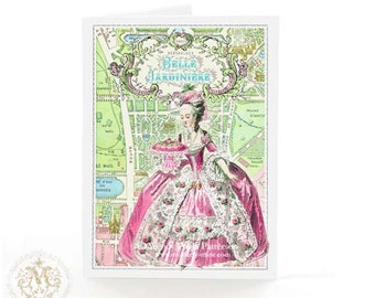 Marie Antoinette, vintage Paris map, birthday card, travel card, French, all occasion card