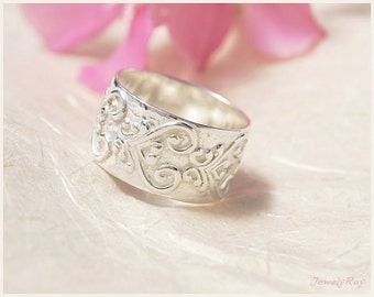 Wide Wedding Band - wide Sterling Silver ring, Patterned wedding ring, Paisley ring, Unique wedding ring, Eternity wedding ring