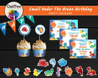 Small Under The Ocean Birthday Party Package Set - Printable - DIY - Invitation Included - 7 Items