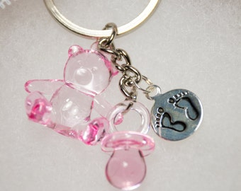 30 Baby-shower-Keychain-Favors-Decoration Bear Bottle Charm Pink girl or Blue boy