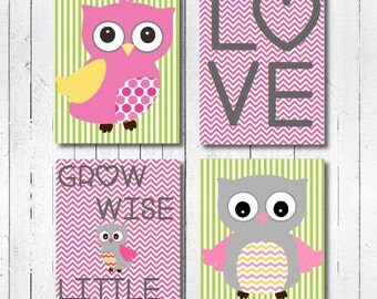 Baby Girl Nursery Decor, Pink Nursery Decor, Owl Nursery Decor, Owl Nursery Print, Nursery Wall Art, Pink and Green Nursery, Baby Girl Gift