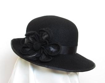 Black  felt hat, 100% wool felt with felted flower
