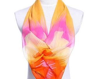 Womens Scarf, Orange Scarf, Floral Print Scarf, Leopard Print Scarf, Chiffon Scarf, Voile Scarf, Cotton Scarf, Fashion Scarf