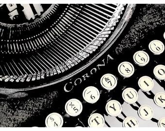 Illustration of a Vintage Corona Typewriter Detail Retro Art Print & Canvas Print