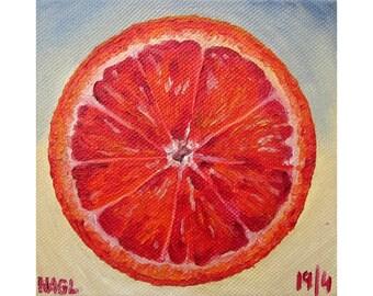 Blood Orange (April 2014) original still life oil painting study on box canvas