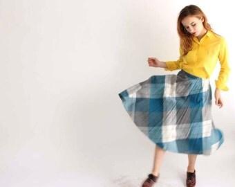 """vintage pleated wool skirt - turquoise blue and gray plaid skirt - mid length vintage skirt size medium large 26"""" to 30"""" waist"""