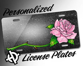 Pink Open Rose -AT1042- Airbrush License Plates Personalized Custom Auto Tags