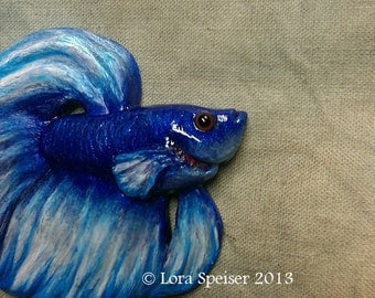 Beautiful Betta Fish Necklace Pendant or Brooch/Pin Art Sculpture Custom Order Variations Available!