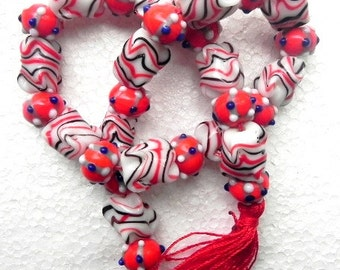 "19"" long Lampwork handmade oval bumpy bead string  / beading craft/jewelry craft/craft supplies/jewellery making"