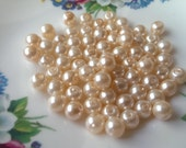 70 pcs Peach Coloured Glass Pearl Beads 6mm