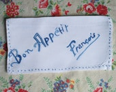 Embroidered Napkin Case BON APPETIT FRANCOIS Vintage French 1950s