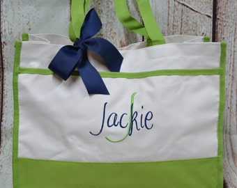 Monogrammed Tote Bag (Set of 7)- Bridesmaid Gift- Personalized Bridemaid Totes - Wedding Party Gifts - Name Tote-