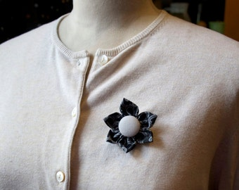Black Fabric Flower Brooch, Flower Pin - Handmade Fabric Flower