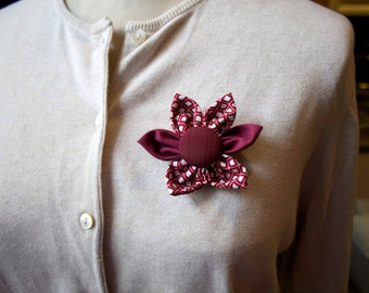 Burgundy Fabric Flower Brooch, Flower Pin - Handmade Fabric Flower