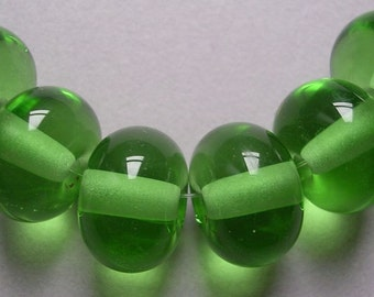 Handmade Lampwork Green Glass Beads Ericabeads Peridot Green Spacers (6)