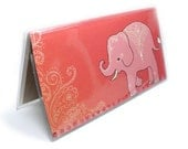 Checkbook Cover - Mehndi Elephants - cute peach and coral pachyderm check book holder