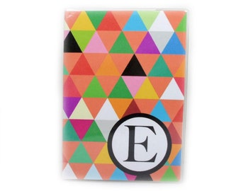 Passport Cover - Triangle Madness - modern geometric passport holder - colorful triangles - personalized with initial