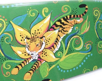 Checkbook Cover - Leaping Tiger Lily - jungle tiger checkbook holder - check book accessory - green and orange - floral