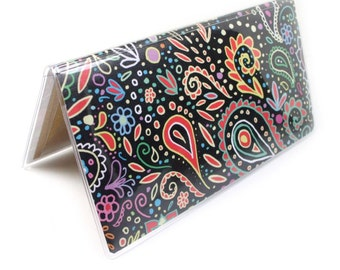 Chalkboard Doodle Checkbook cover - neon pastel paisley swirls - top tear or side tear styles available - pretty check book case
