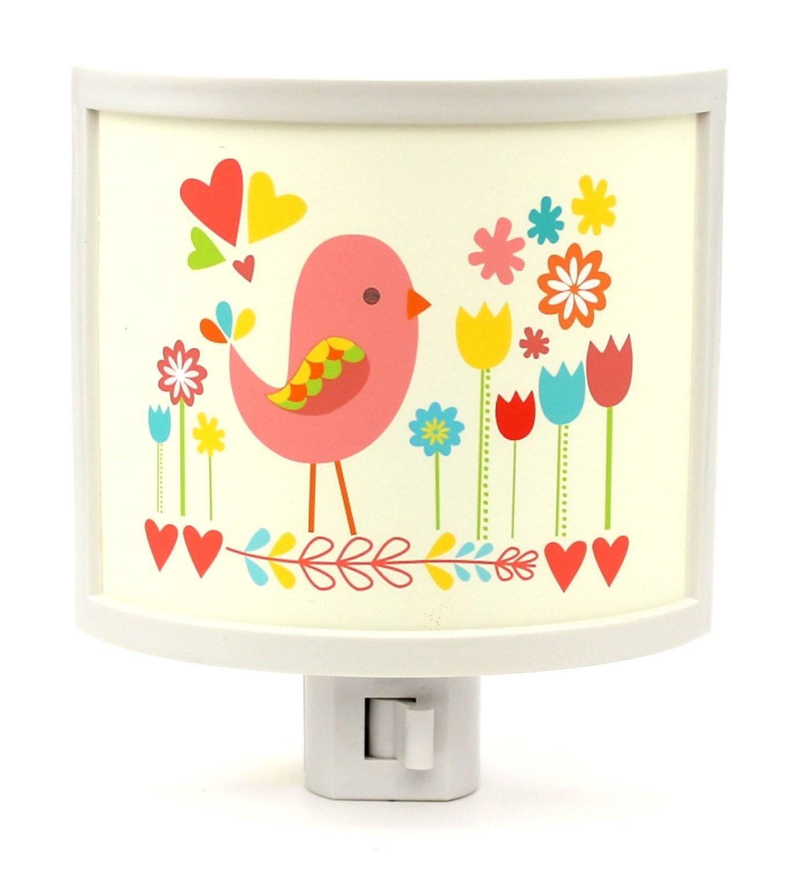 Bird and flowers cute night light nursery bathroom hallway for Bathroom night light