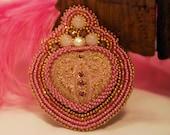 Vintage Valentine - Rose Quartz Bead Embroidered Brooch