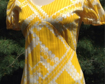 Vintage Yellow Empire Maxi Dress Puff Sleeves