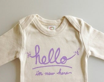 Hello I'm New Here, Funny one piece, modern baby gift, funny baby shower, baby girl gift (0-3 mo - lavender text - long or short sleeves)