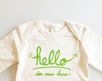 Hello I'm New Here - baby one piece (0-3 mo - lemon lime ink - long sleeves)