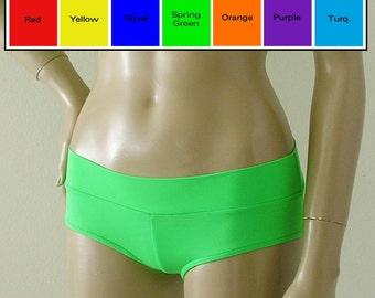 Low Rise Cheeky Boy Short Bikini Bottom in Red, Blue, Purple, Green, Turquoise, Orange, Yellow, Black in S.M.L.XL.