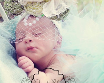 Headband Triple Rosette Silk Headband Pearls Swarvoski Crystal Accents and French Tulle UPIC Color Newborn to Adult Baptism Wedding Childre