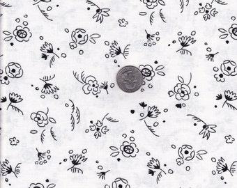 One yard - White Flower Toss - Doodle by Alice Kennedy - Timeless Treasures  cotton quilt fabric