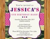 Hot Pink and Green Camo Birthday Invitation Girls Personalized Camo Party Invite - 5x7 Printable JPG File Invite (PI-59)