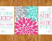 Instant Download Let Her Sleep Flower Burst She is Fierce Nursery Decor Hot Pink Bright Blue Wall Art 3- 11x14 Digital JPG Files (93s2)