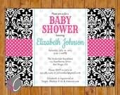 Damask Baby Shower Invitation Pink Teal Invite Polka Dots Baby Girl Shower Invitation 5x7 Digital JPG (187)