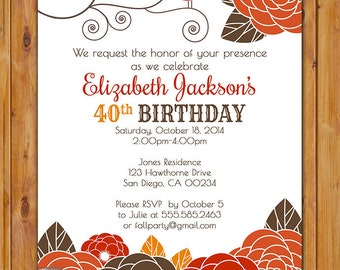 Fall Autumn Floral Birthday Printable Invitation Floral Burst with Bird Invitation Woman's 40th 50th 60th Milestone Birthday Invitation (71)