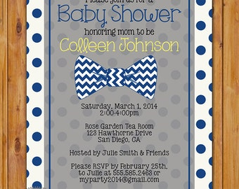 Little Man Bow Tie Baby Shower Invitation Navy Blue Polka Dots Shower Invite 5x7 Digital Invite (298)