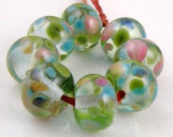 Crazy Cool - Handmade Artisan Lampwork Glass Beads 8mmx12mm - Pink, Green, Blue - SRA (Set of 8 Beads)