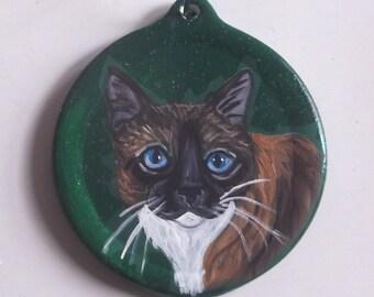 Snowshoe Cat Custom Painted Christmas Ornament Decoration