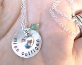Teacher Necklace - Personalized Hand Stamped Sterling Silver Necklace with silver apple charm and swarovski crystal