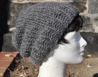 Gray 100% Peruvian Highland Wool Knit Hat - Wool Ribbed Knit Slouchy Hat - Woman's Hat