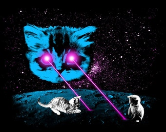 Print: Meta Laser Cat with Kittens, Funny Cat, Laser Space Cat, Laser Eyes Space Cat, Laser Beam Space Cat