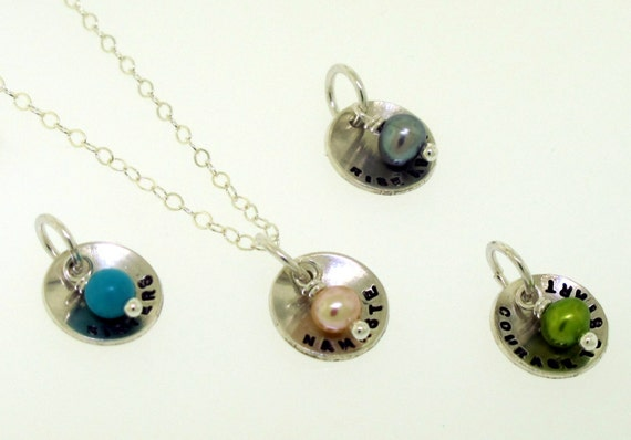 Tiny Dome Charm - custom made necklace with your personalized message and bead color by Kathryn Riechert
