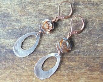 Brown Rose Earrings - mother of pearl earrings - Rose Earrings - Shell Earrings - Flower Earrings - floral jewelry - garden inspired
