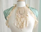 Crochet Lace Boho Necklace - Dreamcatcher Bib Choker with Shabby Silk Fringe