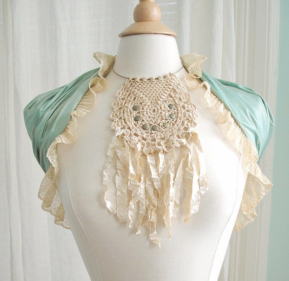 Crochet Lace Boho Necklace - Dreamcatcher Bib Choker with Shabby Silk Fringe