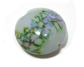 Handmade Glass Lampwork Bead  Grey Gardens Garden  Jumbo Lentil