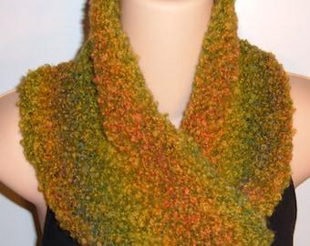 Hand Knit Wool Silk Blend Moebius Scarf Celery Seed green