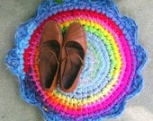 Fuzzy Spectrum crochet mat, colorful rag rug, repurposed tshirt circle rug for kitchen, bath, bedroom, or pets