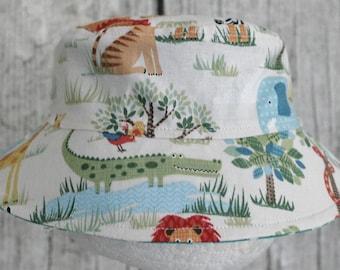 Kids Child Children Reversible Fabric Bucket Hat MO Jungle Dots