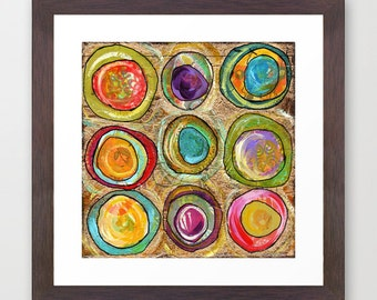 eggs, modern eggs, circles, jewel tones, magenta, purple, aqua, earthy, home decor, modern decor, modern art, contemporary art, painting